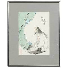 Japanese Woodblock Style Watercolor Painting of Wiseman, Signed, 20th Century