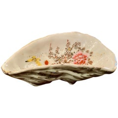 Antique Japanese Yellow Butterfly & Flowers Kutani Porcelain Oyster Shooter 1890