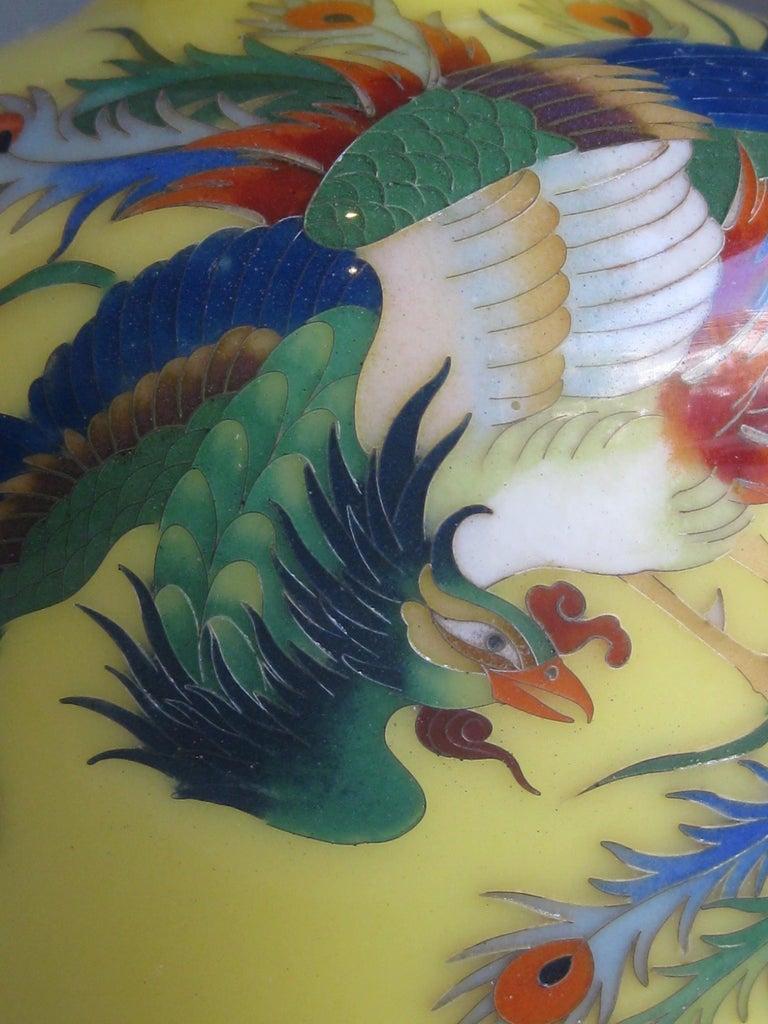 Antique Japanese Yellow Cloisonné Enamel Vase with Hoo-oo Bird Meiji Era For Sale 6