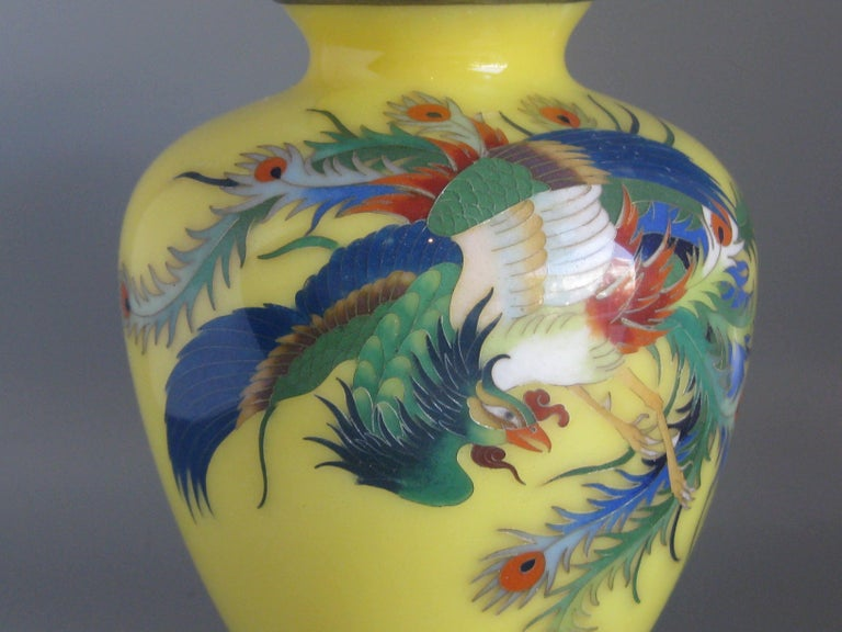 Antique Japanese Yellow Cloisonné Enamel Vase with Hoo-oo Bird Meiji Era In Good Condition For Sale In San Diego, CA