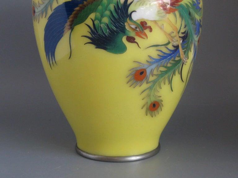 20th Century Antique Japanese Yellow Cloisonné Enamel Vase with Hoo-oo Bird Meiji Era For Sale
