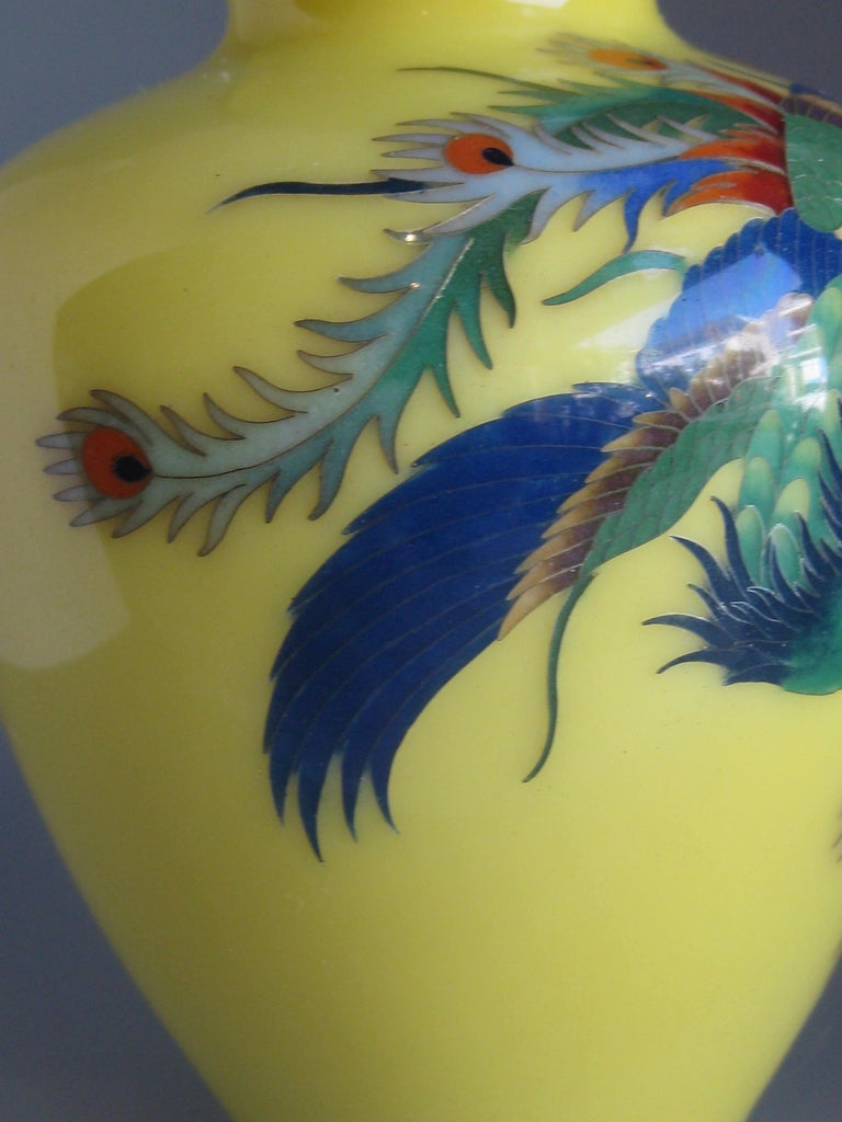 Antique Japanese Yellow Cloisonné Enamel Vase with Hoo-oo Bird Meiji Era For Sale 5