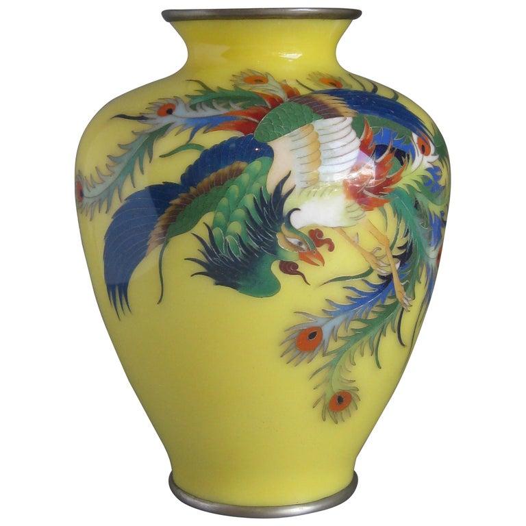 Antique Japanese Yellow Cloisonné Enamel Vase with Hoo-oo Bird Meiji Era For Sale