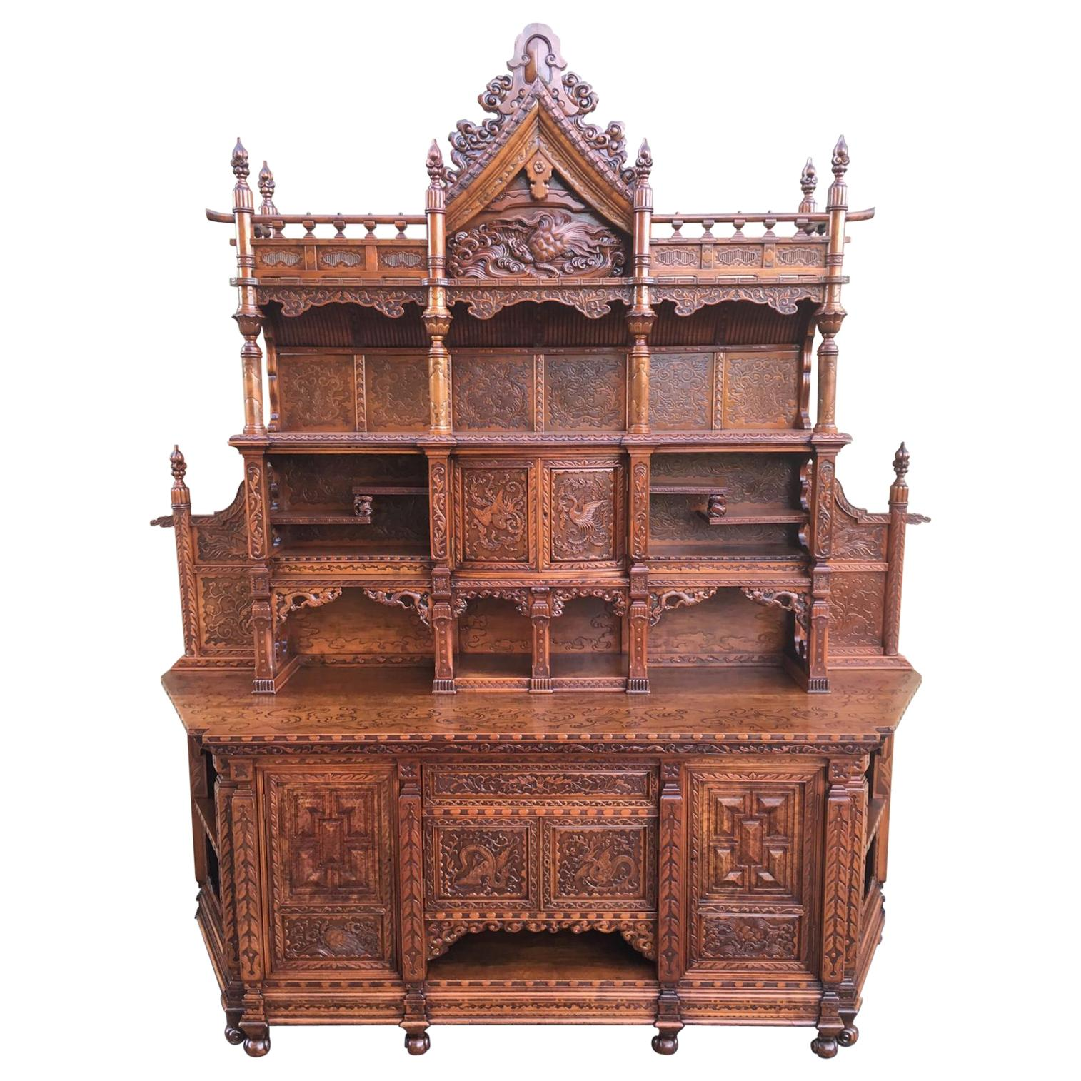 Indian cabinet or armoire with hand carved doors from 20th century for sale at 1stdibs