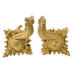 Antique Javanese 22k Gold Conch Shaped Earrings, 10th-15th Century, Indonesia