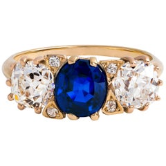 Antique J.E. Caldwell & Co. Sapphire and Diamond 3-Stone Ring in 14 Karat Gold