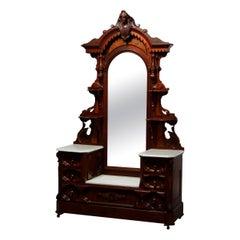 Antique Jelliff Renaissance Revival Carved Walnut, Burl & Marble Dresser, c1870