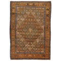 Antique Jerusalem Blue and Copper Brown Wool Floral Rug