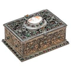 Antique Jeweled Gilt Filigree Casque with Stones and Cameo