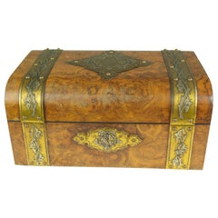 Antique Jewelry Box, Walnut Box, Silk Lined Box, Dome Top, Scotland, 1880