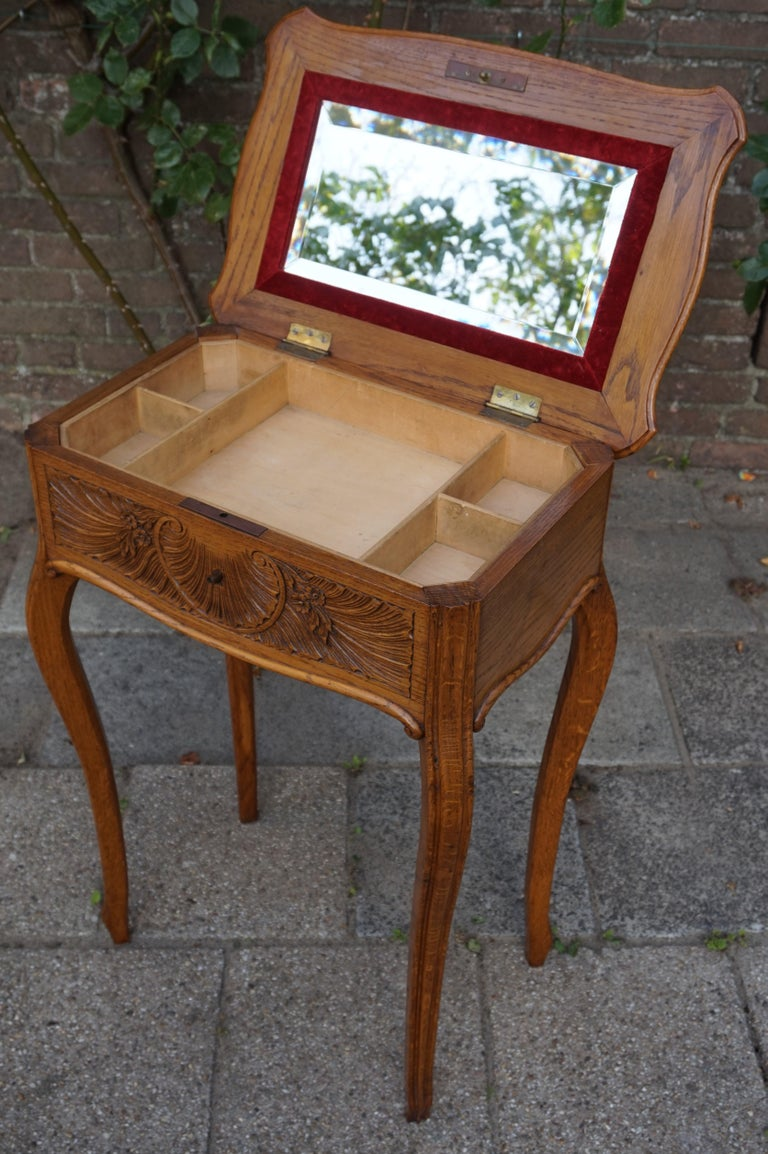 Antique Jewelry or Side Table with Geometric Inlay & Hand-Carved Shell & Flowers For Sale 6