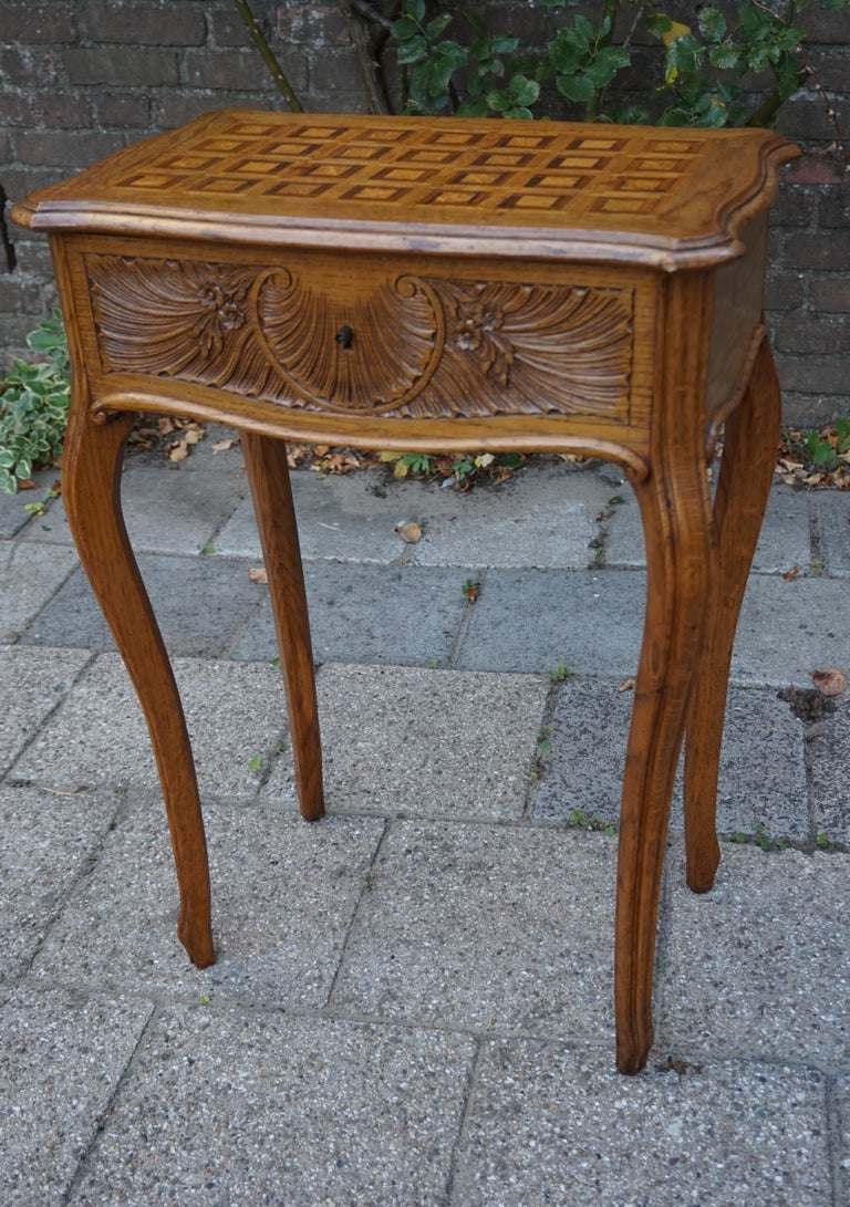 Antique Jewelry or Side Table with Geometric Inlay & Hand-Carved Shell & Flowers For Sale 7