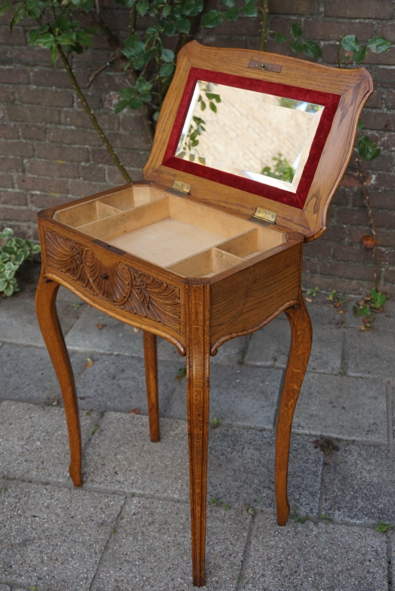 Hand-Crafted Antique Jewelry or Side Table with Geometric Inlay & Hand-Carved Shell & Flowers For Sale
