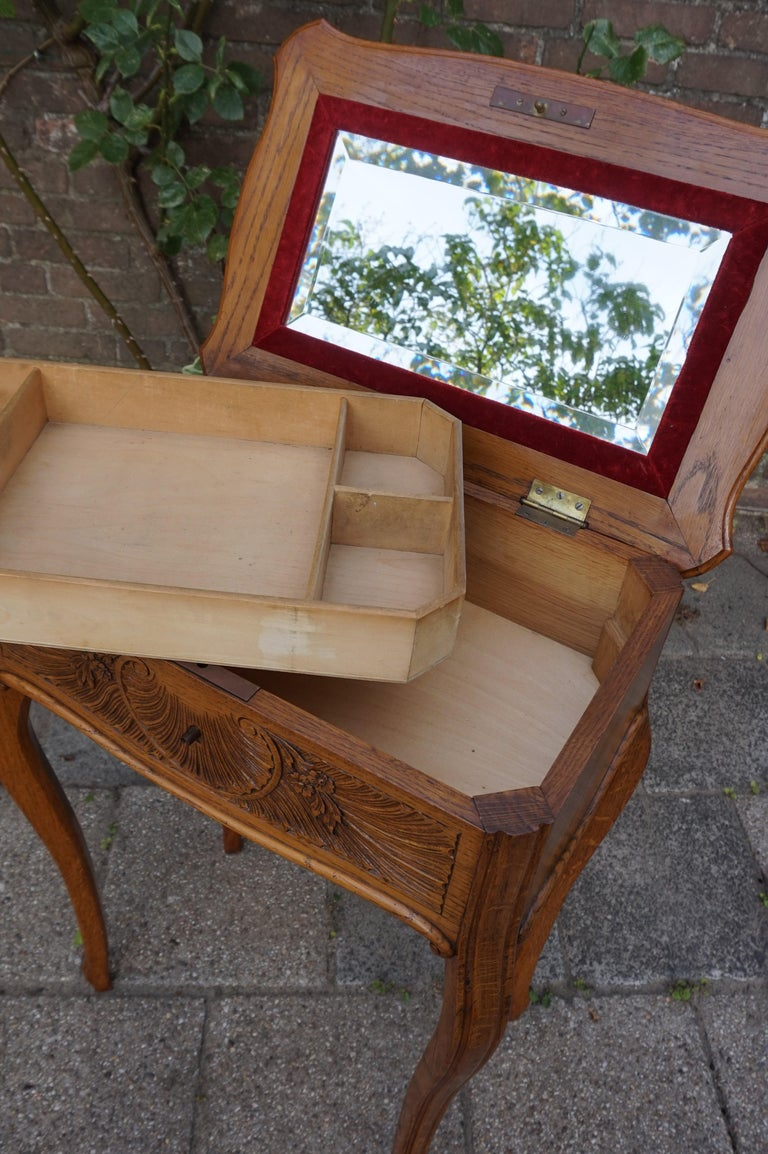 Antique Jewelry or Side Table with Geometric Inlay & Hand-Carved Shell & Flowers For Sale 1