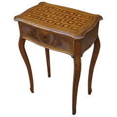 Antique Jewelry or Side Table with Geometric Inlay & Hand-Carved Shell & Flowers