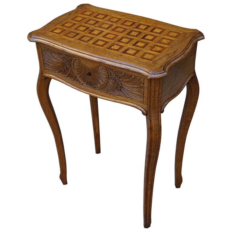 Antique Jewelry or Side Table with Geometric Inlay & Hand-Carved Shell &  Flowers For - Antique Jewelry Or Side Table With Geometric Inlay And Hand-Carved