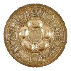 Antique Jewish Brass Seder Plate by Bezalel Academy of Arts and Design