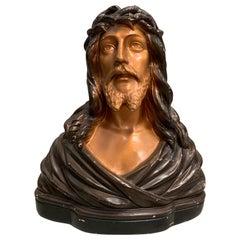 Antique Jezus Bust by Jean Carli France 1920, Glazed Plaster