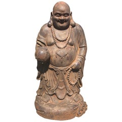 Antique Joyful Buddha Sculpture Brings Hope for Our World