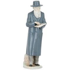Antique Judaica Porcelain Sculpture of a Rabbi