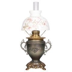 Antique Juno Rayo Style Table Lamp with Painted Glass Shade, c1890