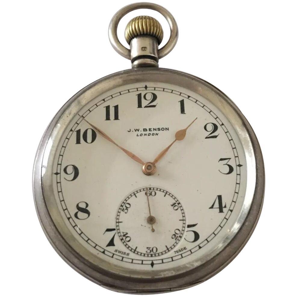 Antique J.W. Benson London Silver Pocket Watch