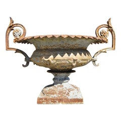 Antique J.W. Fiske Attr. French Cast Iron Urn Garden Planter with Twin Handles