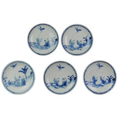 Antique Kaiseki Set of 5 Chinese Porcelain 17th C Kosometsuke Boy and Bird di