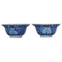 Antique Kangxi Chinese Porcelain Blue and White Klapmuts Bowls Porcelain