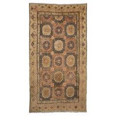 Antique Kansu Beige Wool Khotan Carpet, 18th Century