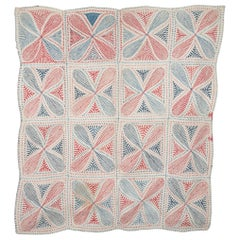 Antique Kantha Embroidered and Quilted Coverlet, Early 20th Century