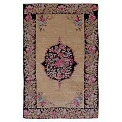 Antique Karabagh Black and Pink Flower-Patterned Handwoven Wool Rug