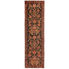 Antique Karabagh Black and Red Wool Floral Runner Floral Pattern
