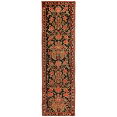 Antique Karabagh Black and Red Wool Floral Runner