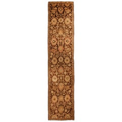 Antique Karabagh Brown and Beige Geometric-Floral Wool Runner