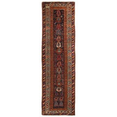 Antique Karabagh Crimson and Orange Geometric Wool Runner with Boteh Patterns