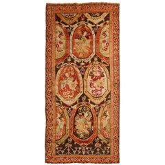 Antique Karabagh Magenta and Brown Wool Runner
