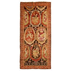 Antique Karabagh Magenta and Brown Wool Runner Geometric Pattern