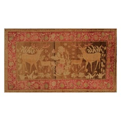 Antique Karabagh Pictorial Red and Gold-Brown Wool Rug