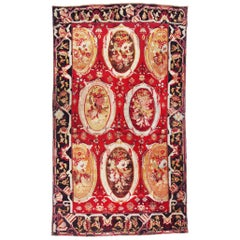 Antique Karabagh Red and Beige Wool Rug with Floral Cartouches