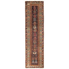 Antique Karabagh Runner Beige Brown and Red Classic Rug with Boteh Pattern