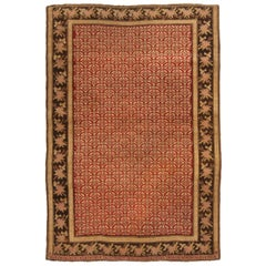 Antique Karabagh Traditional Red and Golden Beige Wool Rug