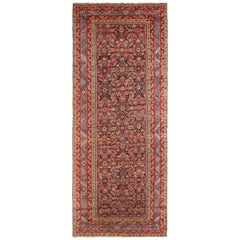 Antique Karabagh Traditional Red Wool Rug with Herati Fish Pattern