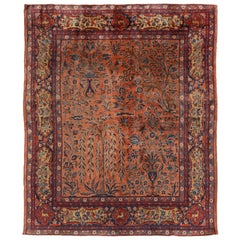 Antique Kashan Beige and Red Wool Persian Rug