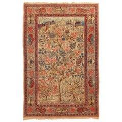 Antique Kashan Blue and Beige Wool Persian Rug