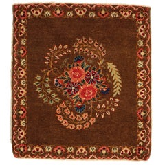 Antique Kashan Brown l Wool Persian Rug with Floral Medallion