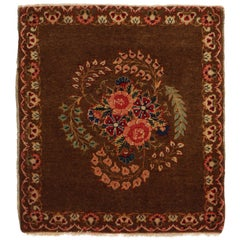 Antique Kashan Brown Wool Persian Rug with Floral Medallion