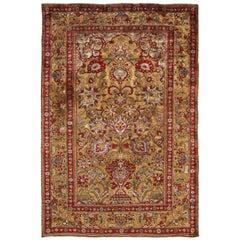 Antique Kashan Burgundy and Golden-Beige Silk Persian Rug