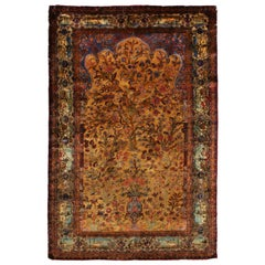 Kashan Golden-Brown and Blue Silk Persian Rug with Unique Floral Medallion