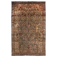 Antique Kashan Green and Pink Silk Persian Rug